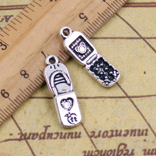 10pcs Charms mobile phone 21*8mm Tibetan Silver Plated Pendants Antique Jewelry Making DIY Handmade Craft(China)