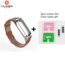 Mijobs Screwless Genuine Leather Strap For Original Xiaomi Mi band 2 Miband 2 PLUS OLED Smart Wristband Bracelet