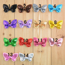 "50pcs/lot 2"" Sequin Bows Sequin Bow Applique Embroidered sequined bow Fabric Flowers for Headbands 2016"
