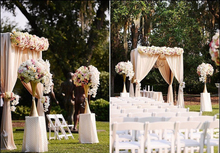 Free Shipping 3M*3M*3M Champagne square canopy drape with stainless steel pipe  wedding props outdoor wedding supply