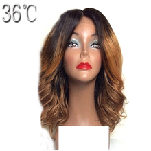 36C Short Human Hair Lace Front Wigs Ombre Color Peruvian Bob Virgin Hair Two Tone Hair Wig with Baby Hair Middle Part(China)