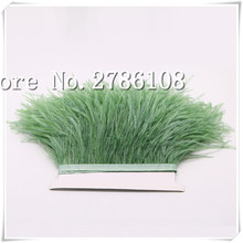 "Free Shipping 10meters  Glass Green Colour 10-15cm 4-6"" Long Ostrich Feather Fringes trimg Accessories Craft"