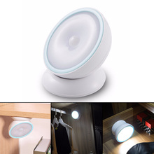 2 Modes IR Infrared Motion Sensor 5 LED Rotative Night Light Closet Cabinet Table Light Wall Lamp Wireless USB Operated Lights(China)