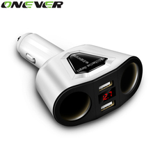 Onever 3.1A Dual USB Car Charger+2 Cigarette Lighter Sockets 120W Power Support Display Current Volmeter For iPhone iPad Samsung
