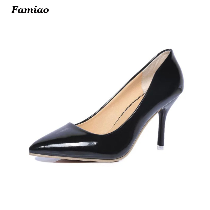 New 2017 Womens High Heels Pumps Fashion Sweet Pointed Toe Patent leather 8CM High Heel OL Shoes for office lady Women<br><br>Aliexpress