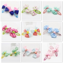 2017 New 10Pcs/lot Lovely Bows Butterfly Hair Clips Headwear For Kids Children Handmade Hairpins For Girls Kids 11 Colors Mixing(China)