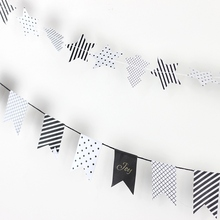 Christmas Banner Gift Wrapping Garland (Stars,Trees, Swallow Tails Symbols) Christmas Mini Bunting Garland Christmas Tree Decor