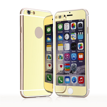 Back + Front Premium Mirror Electroplating Tempered Glass Screen Protector For iPhone 6 6s 5 5s 4 4s case cover 2 pcs/lot
