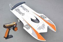 E22 RTR Tiger Teeth Fiber Glass Racing Speed Boat W/2550KV Brushless Motor/ 90A ESC/Remote Control Catamaran RC Boat White