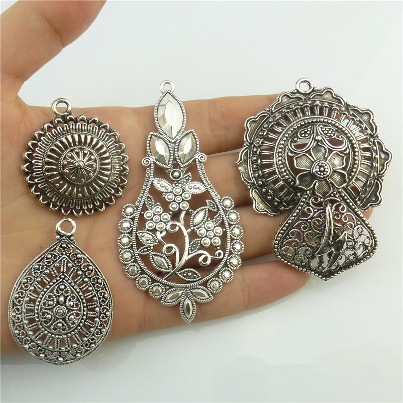 Pack of 10 Tibetan Silver Square Hollow Flower Print Filigree Pendant Charm