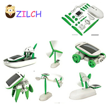2017 New DIY 6 Kinds Magic Mini Plastic Solar Energy Powered Education Toys Best Gift Electric robots Toys For chidren Kids(China)