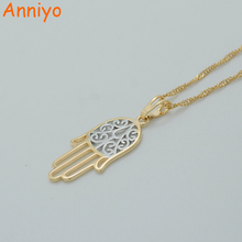 Anniyo Two Tone Hamsa Hand Necklaces for Women,Light Gold Color Hamesh Hand Jewelry Hand of Fatima Pendant Arab #015604