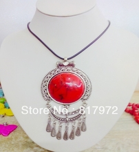 5pcs Glamour Retro Style Tibet Silver Carved Flower inlay Red Round Resin Coral Pendant Chain Necklace free shipping &6N00112(China)