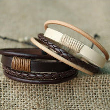 1 PCS Fashion Unisex Retro Bracelet Multilayer Leather Wristband Bracelet Cuff Bangle Men Women Nice Bracelet Popular Accessorie