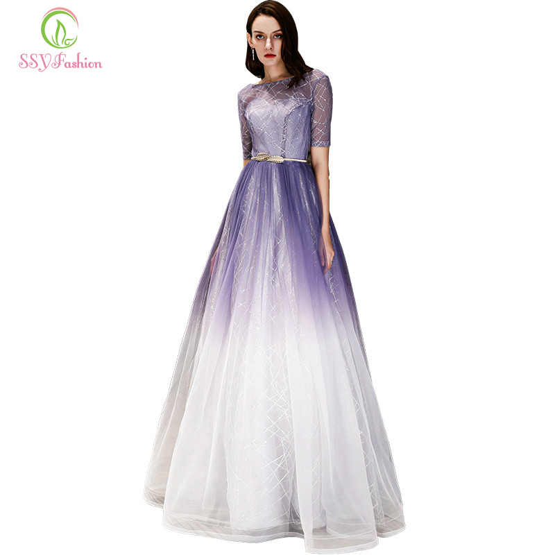 35ad5da6527f7fb SSYFashion нежно-Фиолетовое длинное вечернее платье невесты сексуальное  платье с короткими рукавами на вечерние шнуровке