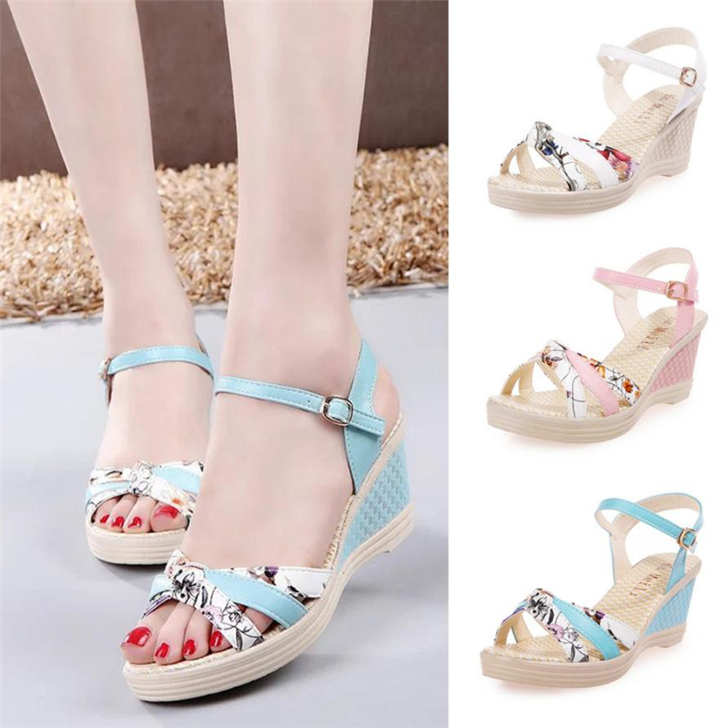 Ladies Women Wedges Shoes Summer Sandals Platform Toe High-Heeled Shoes O0530#3016