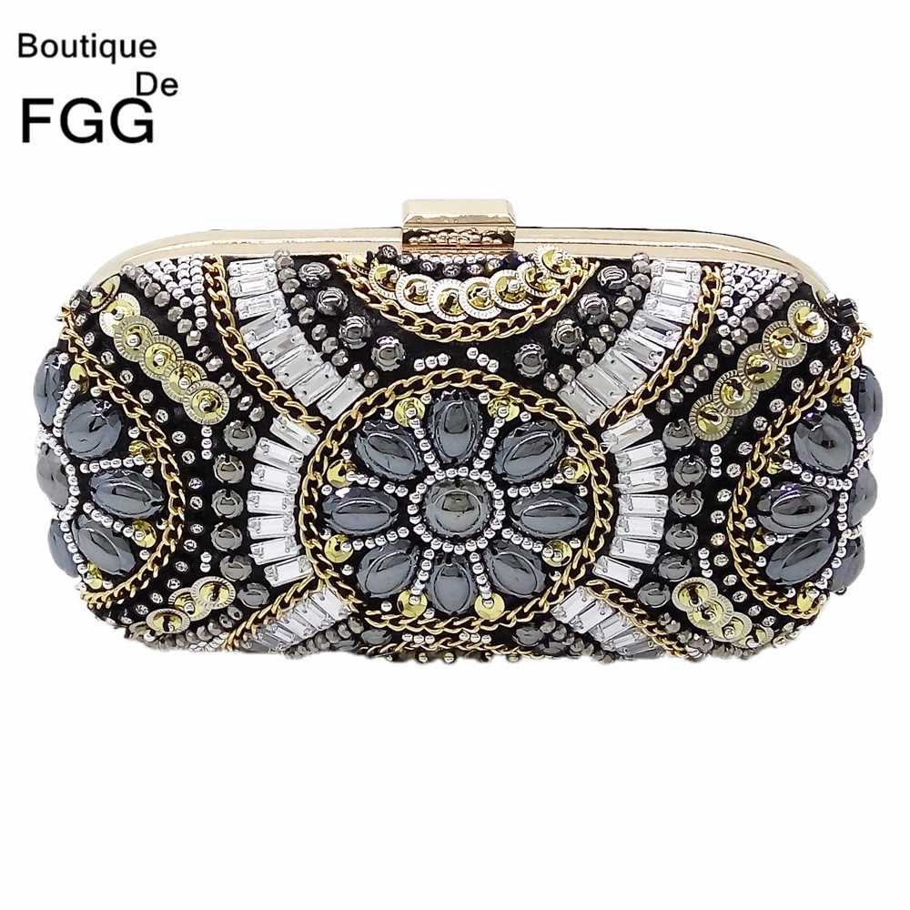 Women Plastic Stone Beaded Pearl Rivets Chains Metal Black Evening Clutch Bag Mini Wedding Party Prom Hardware Handbag Clutches<br><br>Aliexpress