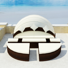 iKayaa 2 in 1 deckchair brown poly rattan with baldachin Garden Set Furniture ES Stock