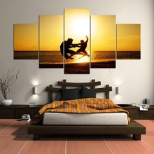HD Printed 5 Panels People On The Beach Landscape Canvas Paintings Wall For Living Room Cuadros Modular Pictures Type YGYT(China)