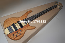 China Hot sale 24 frets 5 strings natural wood color electric bass guitar with neck-thru-body,can be changed as request