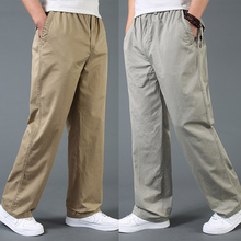 Summer men's obese male cotton casual pants trousers loose plus size L XL XXL 3XL