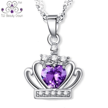 925 Sterling Silver Fashion Party Jewelry Modern Design White Purple Crystal Cubic Zirconia Crown Pendants Necklaces For Women