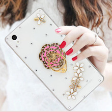 2017 Fashional Diamond Cell Phone Case Cover For Sony Z5,Rhinestone Mobile Phone Case Shell For Sony Xperia Z5 With Ring Stand