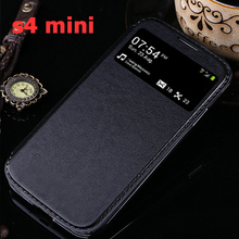 YUETUO luxury flip leather case cover for samsung galaxy s4 mini s4mini original window support stand PU case for galaxy s4 mini
