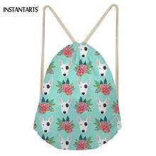 INSTANTARTS Kawaii 3D Animal Bull Terrier Flower Print Women Men  Drawstrings Bags Fashion Softback Storage Backpacks Beach Bags b193f32bae620
