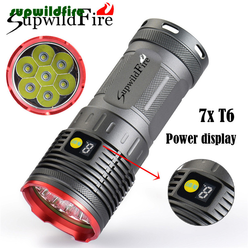 Supwildfire 16000LM 7 x XM-L T6 LED Power &amp; Mode Digital Display Hunting Flashlight Red/Blue/Gold Free Shipping #NO18<br>