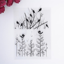 2017 New Scrapbook DIY Photo Album Cards Transparent Acrylic Silicone Rubber Clear Stamps Sheet  Flower Grass