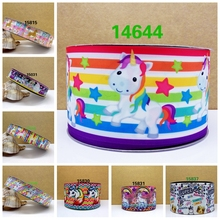 Free shipping 2017 new arrival ribbons Hair Accessories rainbow unicorn ribbon 10 yards  printed grosgrain ribbons 14644
