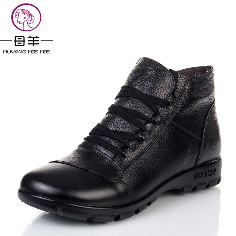 MUYANG MIE MIE Winter boots women genuine leather flat ankle boots 2017 new fashion cotton shoes woman snow boots women boots<br>