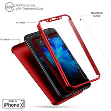 Buy Luxury 360 Full Cover Protective Hard PC Red Phone Cases iPhone X Case 10 iphone 5 5s SE 6 6s 7 8 + Tempered Glass Film for $1.55 in AliExpress store