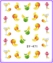 6 PACK/ LOT  GLITTER WATER DECAL NAIL ART NAIL STICKER FRUIT GRAPE COCKTAIL WINE SY471-476