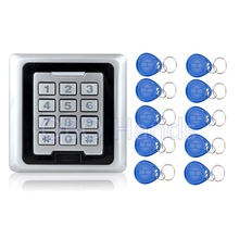 125KHZ Metal Access Controller Keypad System With Door Bell Button RFID Waterproof Door Lock K86 Silver+10 TK4100 Keychains/fobs