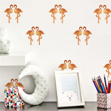 FUNLIFE 24pcs Cute Flamingo Wall Sticker Decals For Children Bedroom Living Room Cafe Bar Home Decors