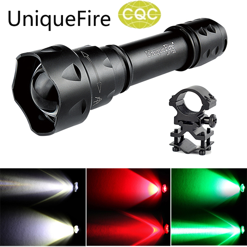 UniqueFire UF Flashlight T20 Cree XP-E Led Torch Red/Green/White Light (3 Mode) Shooting/Hunting Flashlight Torch+Scope Mount<br>
