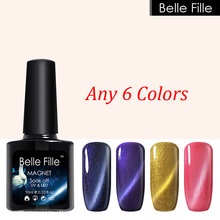 BELLE FILLE 6 Color Cat Eye Line UV/LED Gel Nail 3D Sand Yellow Ruby Color Manicure Varnish Secondary Color Varnish DIY Nail Art(China)