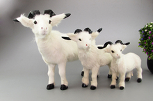 white goat real fur sheep model ornament scene layout prop farm decoration gift h1283(China)