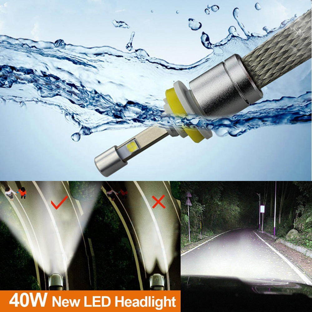 Pair 6000K Super White Auto 9600LM 80W HID White XHP CREE Chips LED Headlight Car Headlamp H4 H8 H9 H11 H13 9005 9006 NO Fan<br>