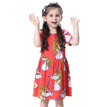 2017 New Girls Dress Global Fashion Movement Unicorn Princess Dress Clothing Dress Up for Girls Girls Dress Girl's Clothes(China)