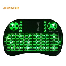 High Quality Russia Mini 2.4G Wireless Keyboard with 3 color backlit Air FLY Mouse Remote Control Touchpad For TV Box Smart TV(China)