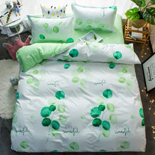 Luxury Green Leaves Bedding Sets 3/4pcs Geometric Pattern Bed Linings Duvet Cover Bed Sheet Pillowcases Cover Set Christmas(China)