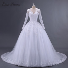 C.V Vestido De Noiva long Sleeve Wedding Dress 2017 Arab Princess Casamento Romantico Bridal Gown robe de mariage casament W0008