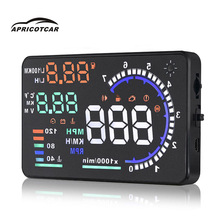 "5.5""Car HUD Head Up Display OBDII vehicle driving speed water temperature meter fuel Fuel Consumption Speed Warning System"