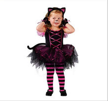 Kids Child Girls Kitty Cat Costume Carnival Halloween Princess Fairy Fancy Dress up Cosplay Outfits with Ear Headband Size 2-10Y(China)