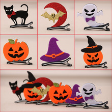 Cute Kid Halloween Hairpins Girl Pumpkin Ghost Bat Hair Accessories With Hair Clip Halloween Boutique Halloween Hair Accessories(China)