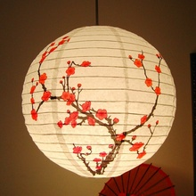 "New Arrival 35CM 13"" Chinese Plum Blossom Paper Lantern Metal Holder Lamp Shade Oriental Home Festival Party Wedding Decoration"