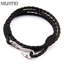 NIUYITID Handmade Bracelet Men Jewelry 40cm PU Leather Accessories For Men Jewellery Fashion Charm Braclets Male Wrist Band